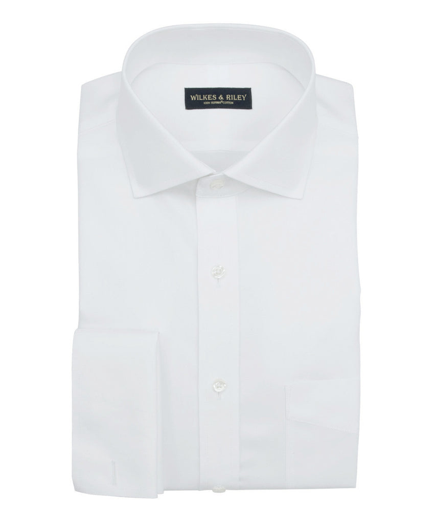 Tailored Fit White Royal Oxford Non Iron Mens Dress Shirt Wilkes