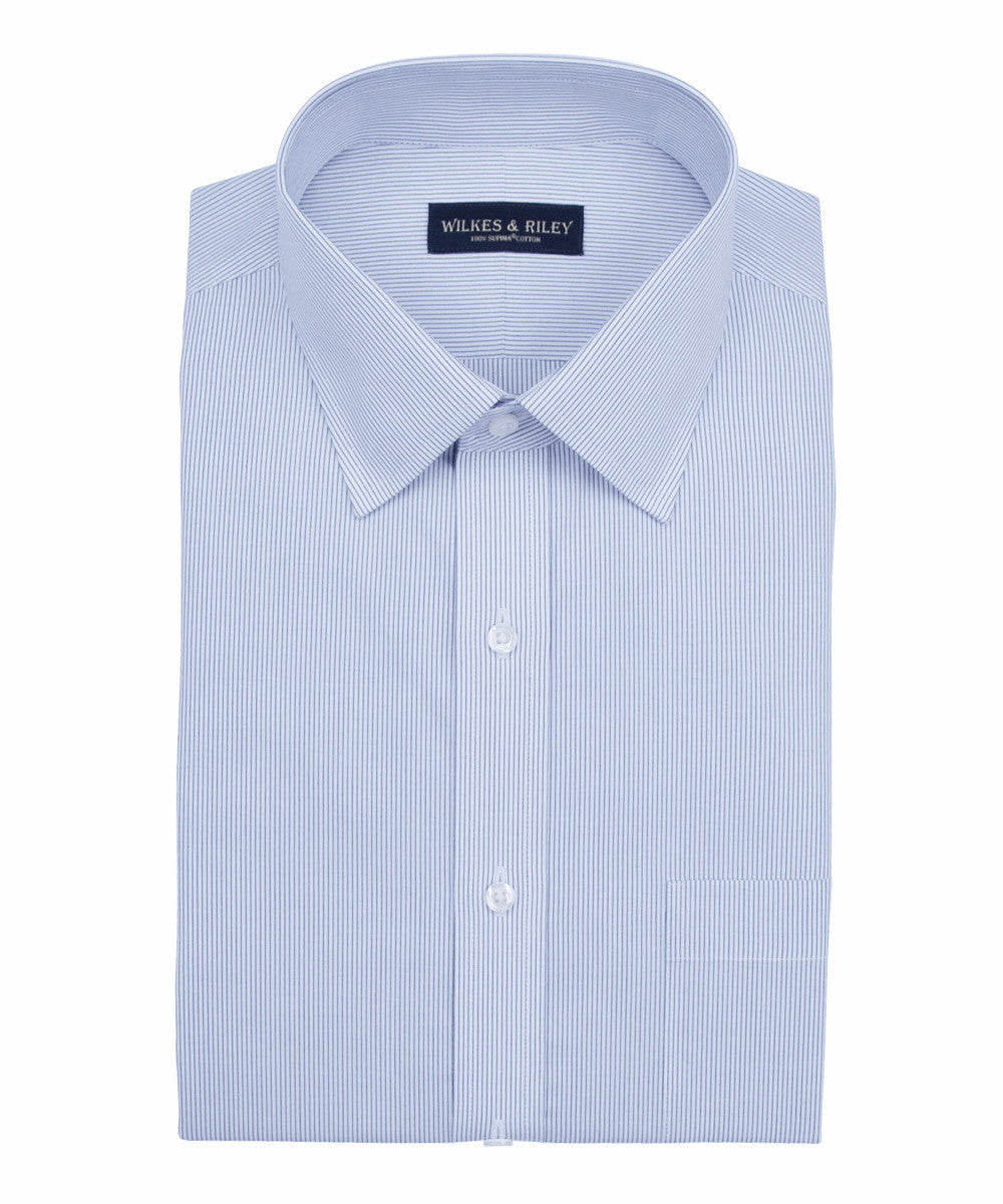 Wilkes and Riley Slim Fit Navy Narrow Pin Stripe Spread Collar Supima® Cotton Non-Iron Pinpoint Oxford Dress Shirt