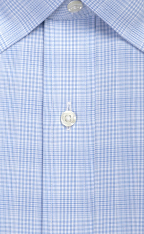 Tailored Fit Light Blue Glen Plaid Spread Collar  Supima® Cotton Non-Iron Broadcloth Dress Shirt