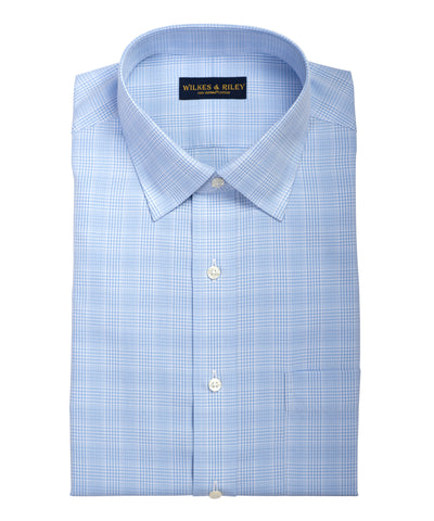 Slim Fit Light Blue Glen Plaid Spread Collar  Supima® Cotton Non-Iron Broadcloth Dress Shirt