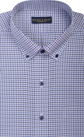 Slim Fit Blue / Dark Grey Mini Check Button Down Collar Supima® Cotton Non-Iron Broadcloth