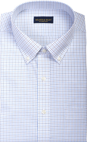 Slim Fit Sky / Navy Poplin Check Button Down Collar Supima® Cotton Non-Iron Dress Shirt
