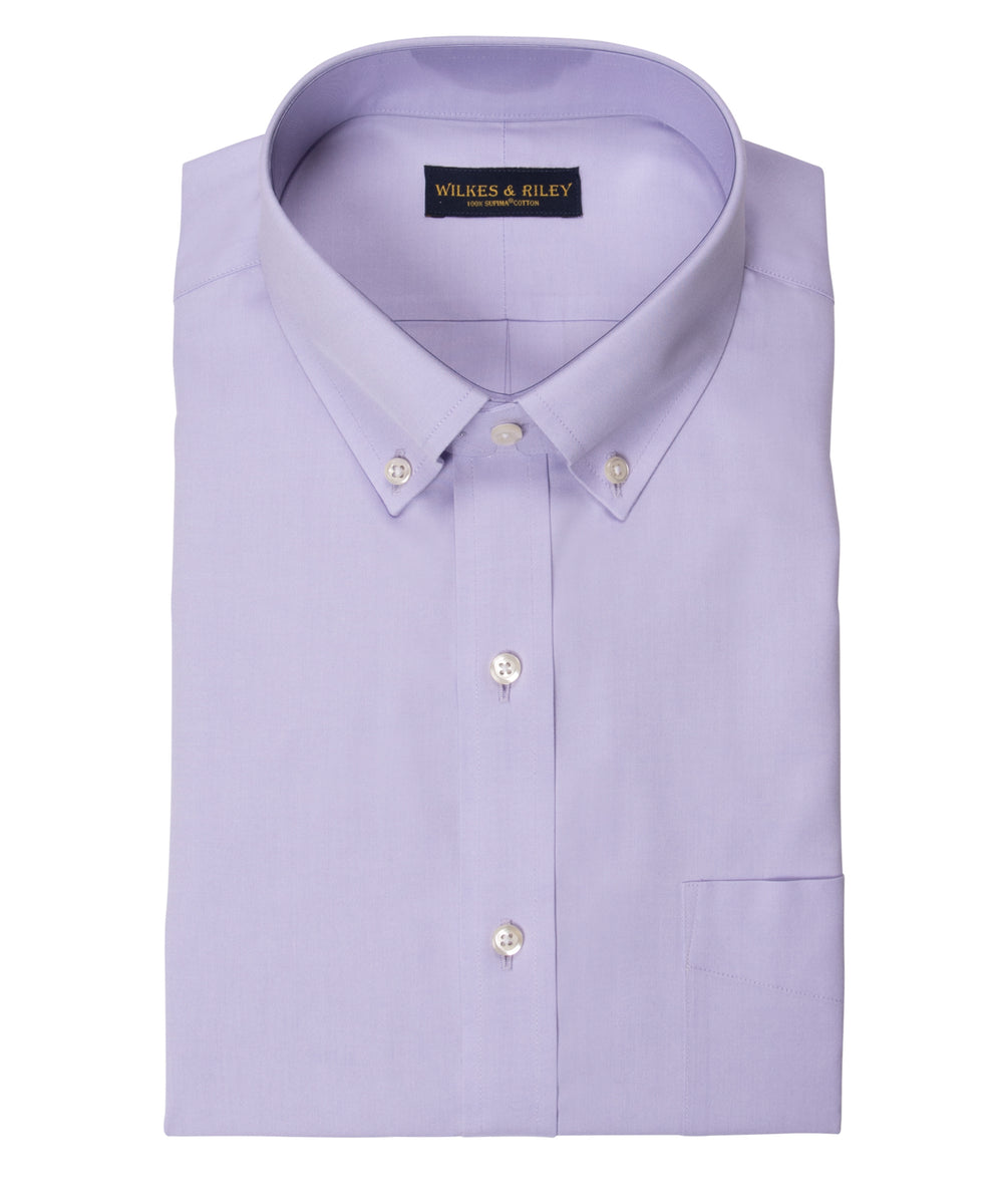 Tailored Fit Lavender Solid Button-Down Collar Supima® Cotton Non-Iron Pinpoint Oxford Dress Shirt