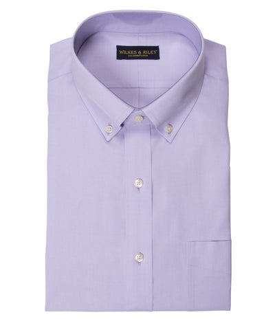 Tailored Fit Lavender Solid Button-Down Collar Supima® Cotton Non-Iron Pinpoint Oxford Dress Shirt (B/T)