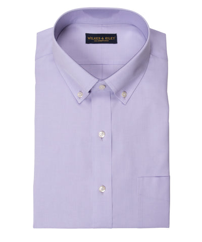 Classic Fit Lavender Solid Button-Down Collar Supima® Cotton Non-Iron Pinpoint Oxford Dress Shirt