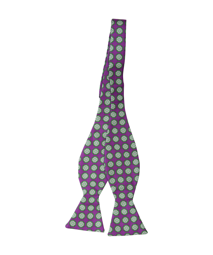 Purple Medallion Self Bow Tie