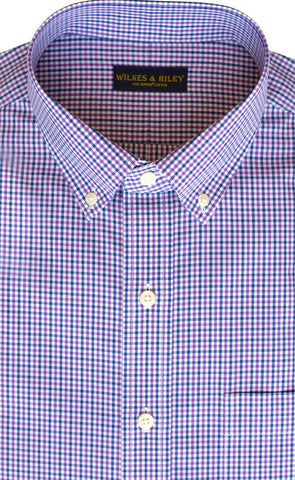 Classic Fit Purple / Blue Tattersall check Button-Down Collar Supima® Non-Iron Cotton Broadcloth Sport Shirt (B/T)