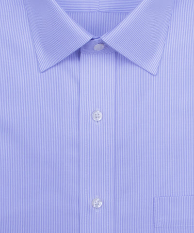 Wilkes and Riley Classic Fit Purple Stripe English Spread Collar Supima® Cotton Non-Iron Twill Dress Shirt. Close up of button and collar