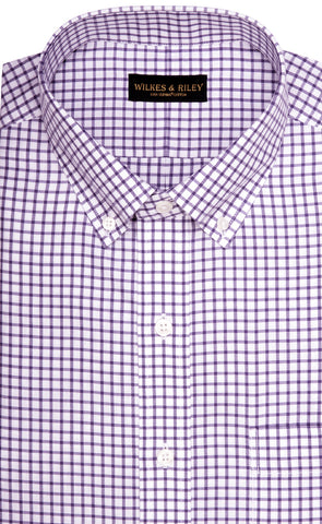 Wilkes & Riley Purple Twill Check Button Down Sport Shirt
