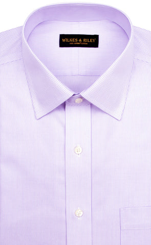 Wilkes and Riley Tailored Fit Purple Stripe Spread Collar Supima® Cotton Non-Iron Twill Dress Shirt