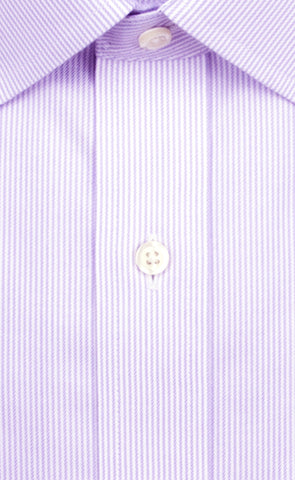 Wilkes and Riley Tailored Fit Purple Stripe Spread Collar Supima® Cotton Non-Iron Twill Dress Shirt Alt