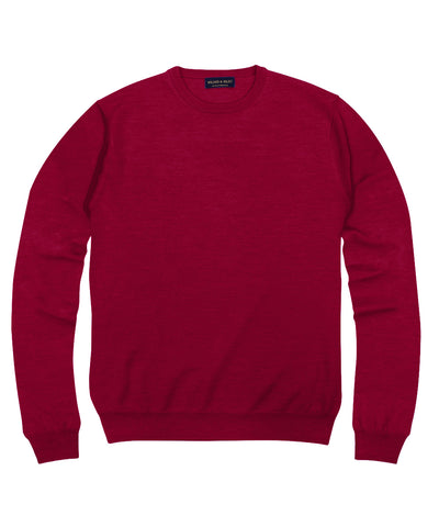 100% Pure Merino Wool Zegna Baruffa Crewneck Sweater - Red