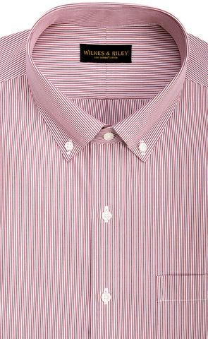 Classic Fit Red Fine Line Button-Down Collar Supima® Cotton Non-Iron Pinpoint Oxford Dress Shirt