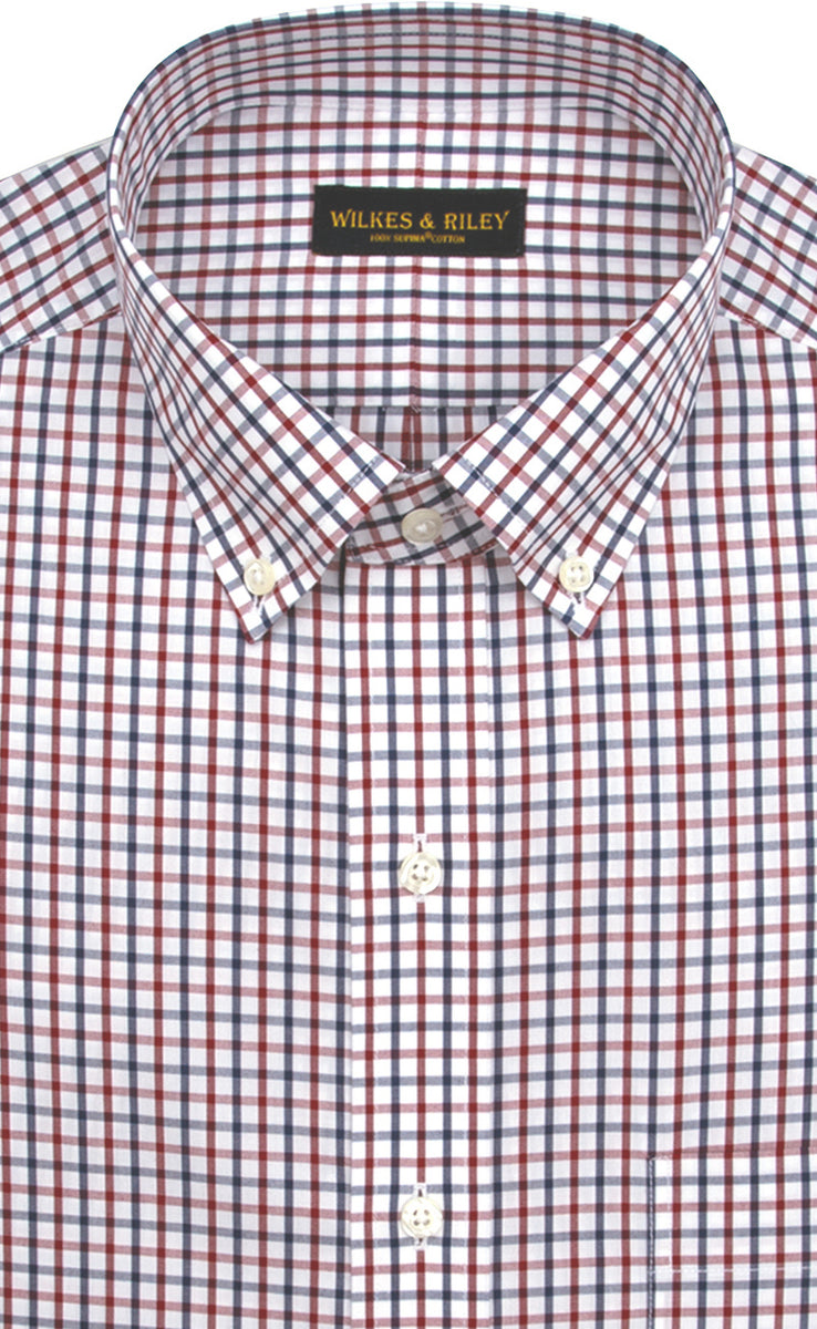 Wilkes & Riley Red & Navy Tattersdall Button down