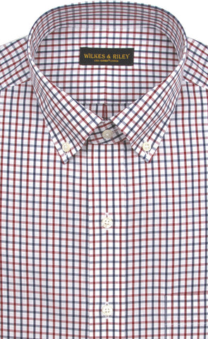 Tailored Fit Red / Navy Tattersall Button-Down Collar Supima® Cotton Non-Iron Broadcloth Sport Shirt
