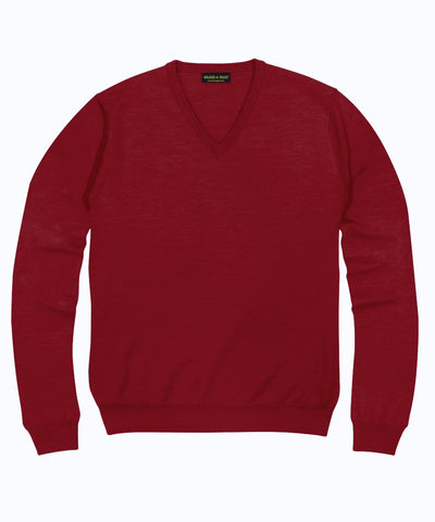 100% Pure Merino Wool Zegna Baruffa V-Neck Sweater - Red
