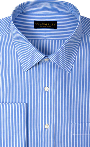 Classic Fit Non Iron Blue Reverse Stripe Spread Collar French Cuff Supima® Cotton Dress Shirt