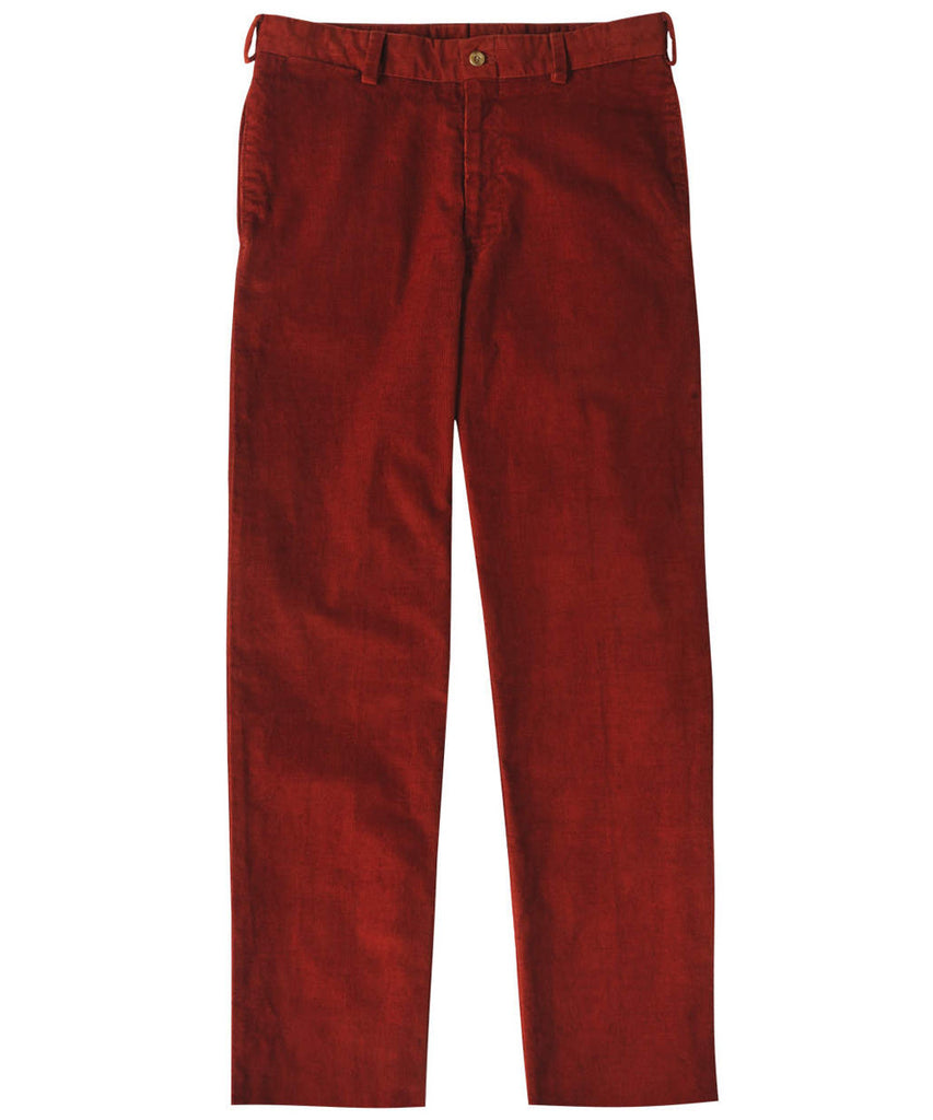 Corduroy Trousers from Bills Khakis - Classic Fit Plain Front (Rust)