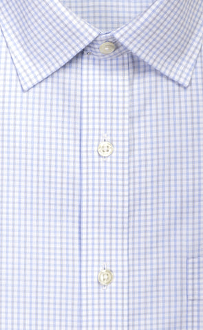 Wilkes & Riley Sky & Grey Twill Check Spread Collar Alt