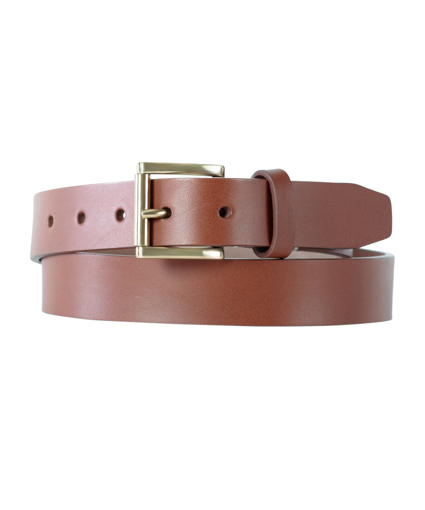 Brown Slab Belt With Stitched Inlay