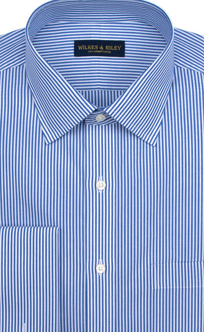 Slim Fit Blue Bengal Stripe Spread Collar French Cuff Supima® Cotton Non-Iron Broadcloth Dress Shirt