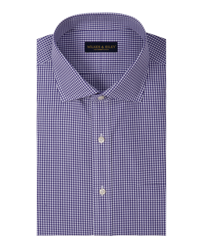 Slim Fit Purple Gingham English Spread Collar Supima® Cotton Non-Iron Broadcloth Dress Shirt