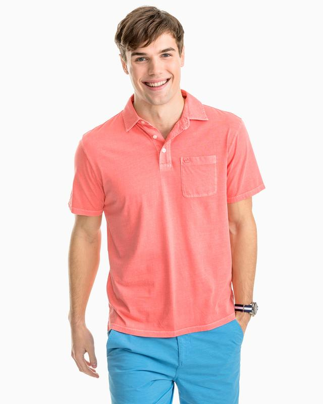 Island Road Jersey 3 Button Polo Shirt By Southern Tide - Georgia Peach