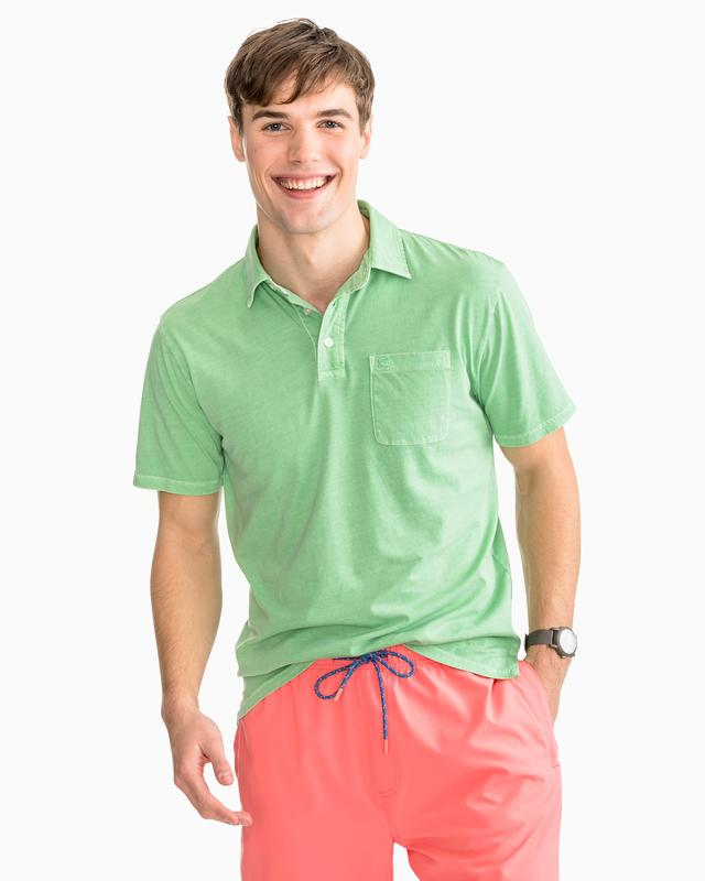 Island Road Jersey 3 Button Polo Shirt By Southern Tide - Green Glass