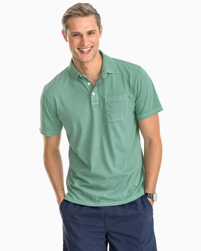 Micro Stripe Island Road Jersey 3 Button Polo Shirt By Southern Tide - GREEN GLASS