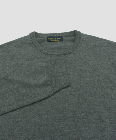 Wilkes & Riley 100% Pure Merino Wool Zegna Baruffa Crewneck Sweater - Grey close up