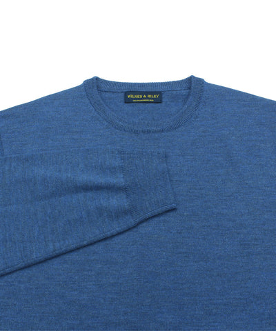 Wilkes & Riley 100% Pure Merino Wool Zegna Baruffa Crewneck Sweater in Light Blue Close Up
