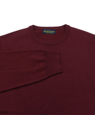 100% Pure Merino Wool Zegna Baruffa Crewneck Sweater - Burgundy close up