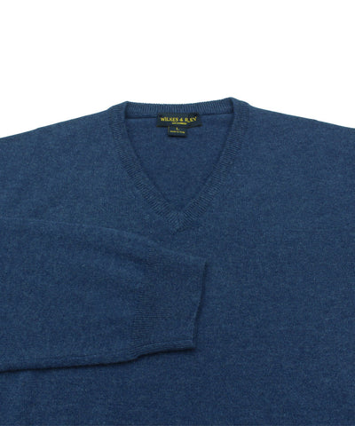 Wilkes & Riley 100% Cashmere V-neck Sweater W/ Loro Piana Yarn in Blue Close Up