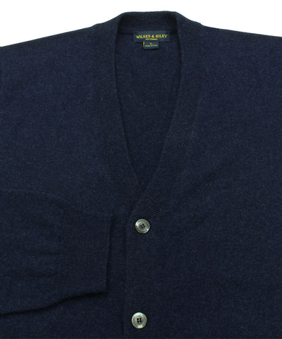 Wilkes & Riley 100% Cashmere Cardigan Sweater W/ Loro Piana Yarn - Navy close up