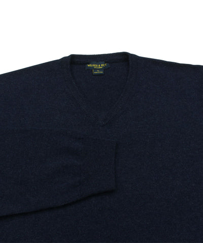 Wilkes & Riley 100% Cashmere Sweater W/ Loro Piana Yarn - Navy V-Neck close up