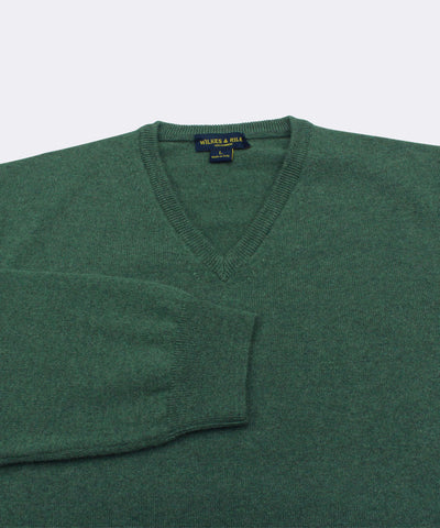 100% Cashmere Sweater W/ Loro Piana Yarn - Forest Green V-Neck Close Up