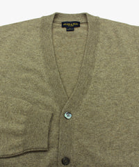 Wilkes & Riley 100% Cashmere Cardigan Sweater with Loro Piana Yarn in Taupe close view