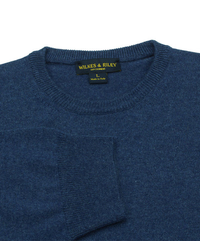 Wilkes & Riley 100% Cashmere Crewneck Sweater W/ Loro Piana Yarn in Blue Close Up