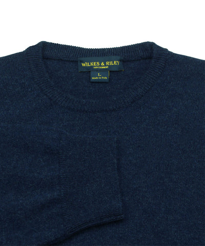 100% Cashmere Crewneck Sweater W/ Loro Piana Yarn in Navy