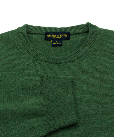 100% Cashmere Crewneck Sweater W/ Loro Piana Yarn - Forest Close Up