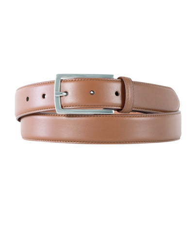 Tan Calfskin Edge Stitched Belt