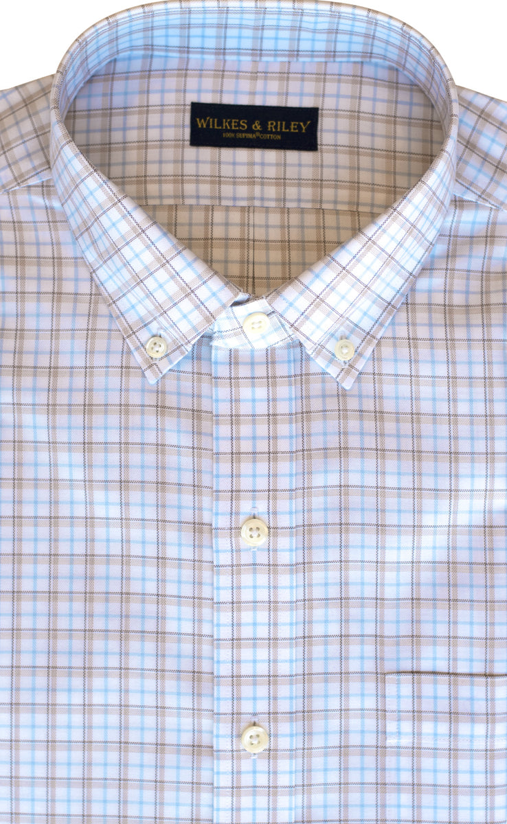 Classic Fit Camel / Sky Twill Plaid Button-Down Collar Supima® Cotton Non-Iron Sport Shirt