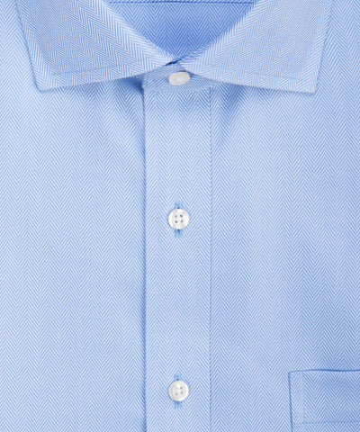 Slim Fit Blue Herringbone English Spread Collar Supima® Cotton Non-Iron Dress Shirt