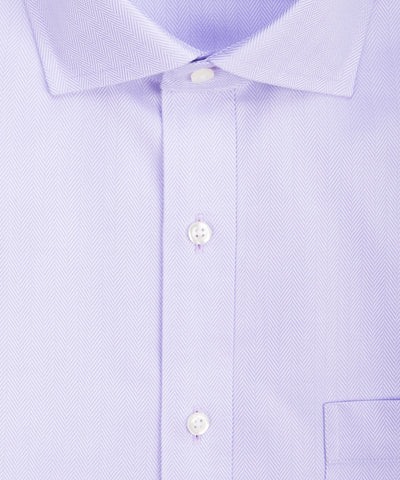 Tailored fit Lavendar Herringbone English Spread Collar Supima® Cotton Non-Iron Dress Shirt