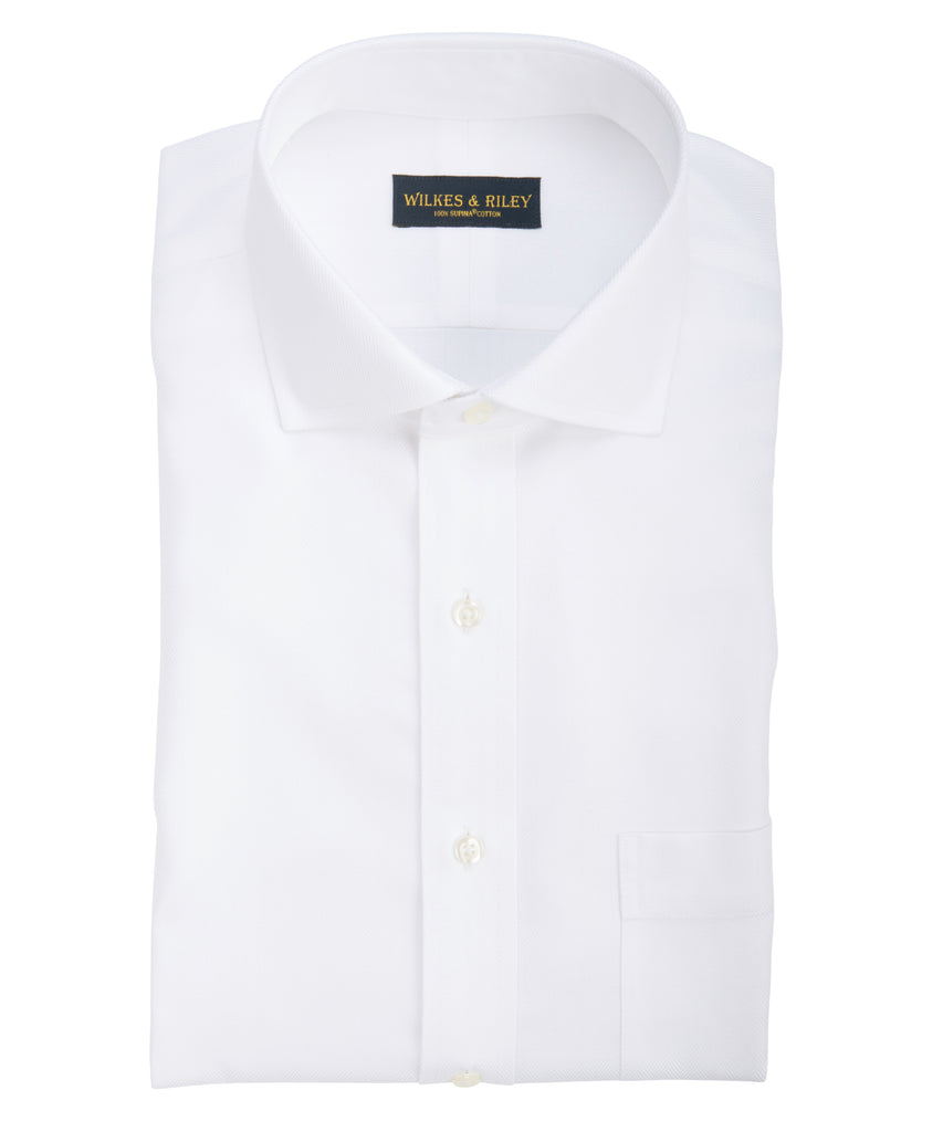 Slim Fit White Herringbone English Spread Collar Supima® Cotton Non-Iron Dress Shirt