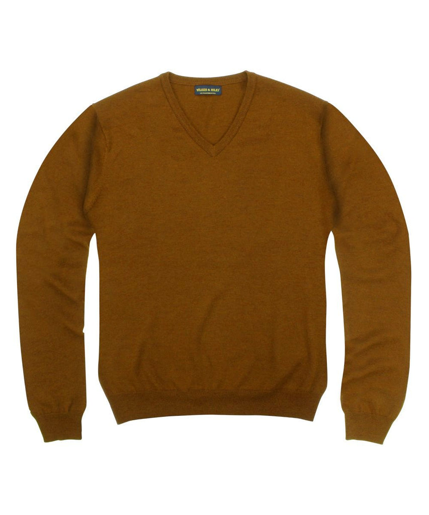 Wilkes & Riley 100% Pure Merino Wool Zegna Baruffa V-Neck Sweater - Rust