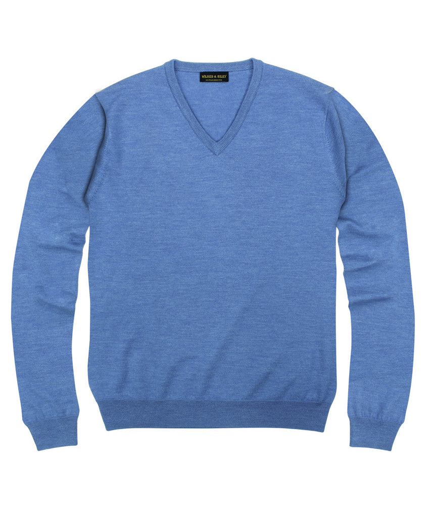 Wilkes & Riley 100% Pure Merino Wool Zegna Baruffa V-Neck Sweater - Light Blue