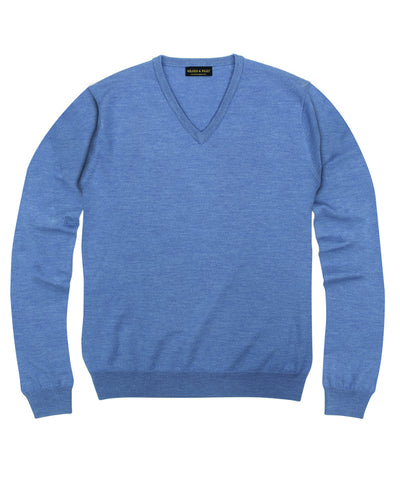 100% Pure Merino Wool Zegna Baruffa V-Neck Sweater - Light Blue
