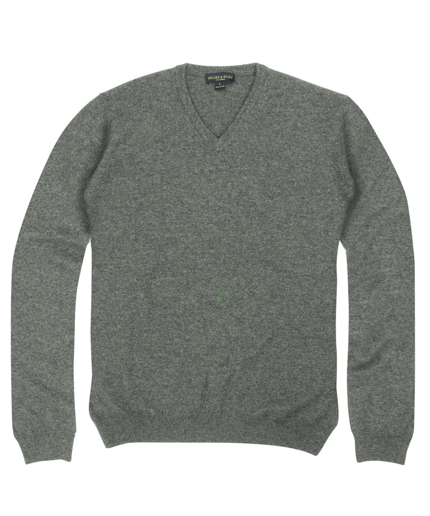 100% Cashmere Sweater w/ Loro Piana Yarn - Grey V-Neck>VIEW FULL SIZE IMAGE</a>                                                                                                         <div id=