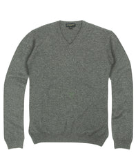 100% Cashmere Sweater w/ Loro Piana Yarn - Grey V-Neck